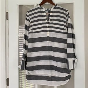 Medium Merona Gray and White Striped Tunic